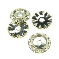 Шайба метал с кристали 13x3.5 мм цвят сребро -5 броя