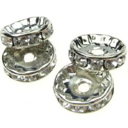 Round metal beads, washer with tiny crystals 12 mm color silver - 10 pieces