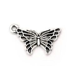 Висулка метална пеперуда 18x10x1.5 мм дупка 1.5 мм цвят стато сребро -20 броя