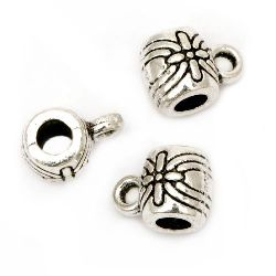 Perle cilindru metalice cu inel 9x6x6 mm gaură 2 mm și 3 mm culoare argintiu -20 bucăți