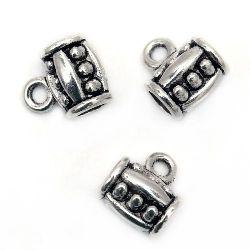 Мънисто метал цилиндър с халка 11x9x7 мм дупка 1.5 мм цвят старо сребро -10 броя