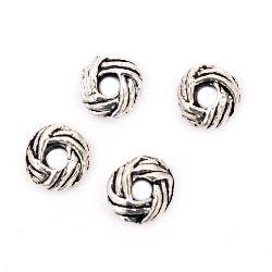 Margele metalic împletitură ovală 6x3 mm gaură 2 mm culoare argint vechi -20 bucăți