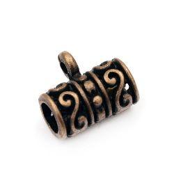 Margele cilindru metalic cu un inel 13x12x8 mm gaură 2 mm culoare cupru -5 bucăți