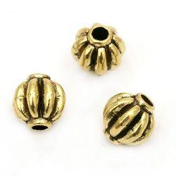 Мънисто метал топче 8 мм дупка 2 мм цвят антично злато -10 броя
