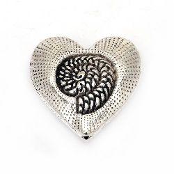 Мънисто метал сърце 30x31x11 мм дупка 2 мм цвят старо сребро