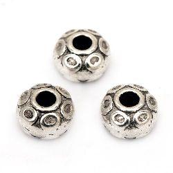 Мънисто метал цилиндър 7x5 мм дупка 2.5 мм цвят старо сребро -10 броя