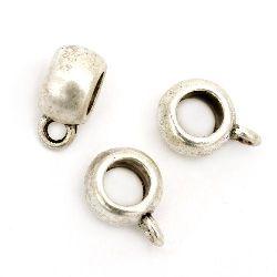 Мънисто метално цилиндър с халка 12.5x9x4 мм дупка 2 мм цвят сребро -10 броя