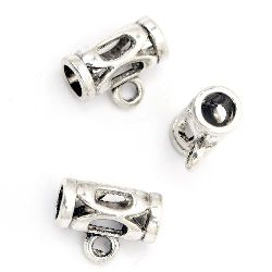 Metal connecting element, openwork cylinder with ring 7.5x14 mm hole 2.5 mm color old silver - 10 pieces