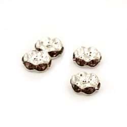 Шайба метал с лилави кристали 8x3 мм дупка 1 мм (качество А) цвят бял -10 броя