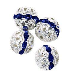 Топче метално с кристали синьо тъмно 10 мм дупка 1 мм цвят бял