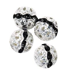 Glamorous metal ball with green dark crystals 10 mm hole 1 mm color white