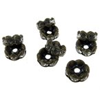 Metal washer with white crystals, zig zag for handmade jewelry making 4x8 mm hole 1.5 mm (quality A) color antique bronze - 5 pieces