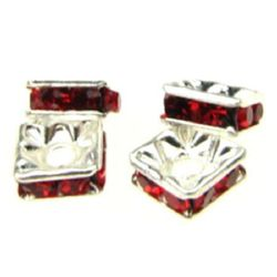 Square metal beads with red crystals 6x6x2.5 mm hole 1 mm (quality A) color white - 5 pieces