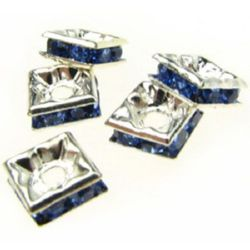 Square separator metal beads with blue crystals 6x6x2.5 mm hole 1 mm (quality A) color white - 5 pieces