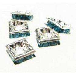 Metal pătrat cu cristale turcoaz 6x6x2,5 mm gaură 1 mm (calitate A) culoare alb -5 piese