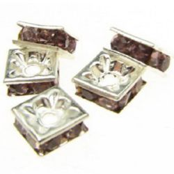 Square metal beads with pink crystals 8x8x4 mm hole 1 mm (quality A) color white - 5 pieces