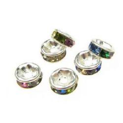 Șaibă de metal cu cristale asortate 6x3 mm gaură 1 mm (calitate A) culoare alb -10 bucăți
