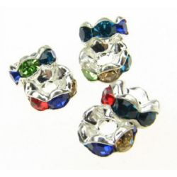 Metal beads divider with mixed  crystals zig zag 6x3 mm hole 1 mm (quality A) color white -10 pieces