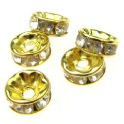 Шайба метал с кристали 8x3.5 мм дупка 1.5 мм (качество B) цвят злато -10 броя