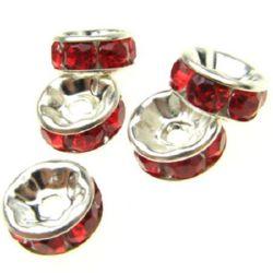 Шайба метал с червени кристали 8x3.5 мм дупка 2 мм (качество B) цвят бял -10 броя
