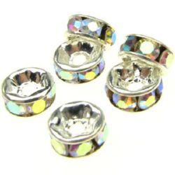Шайба метал с дъга кристали 6x3 мм дупка 1 мм (качество А) цвят бял -10 броя