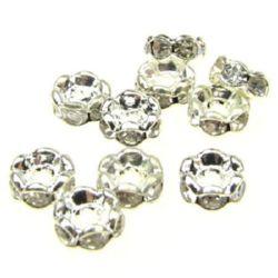 Шайба метал с кристали зиг заг 4x2 мм дупка 1 (качество А) мм цвят бял -10 броя