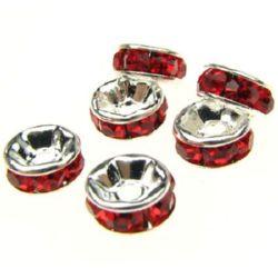 Διαχωριστές με κόκκινα στρας 6x3 mm τρύπα 1 mm -10 τεμάχια