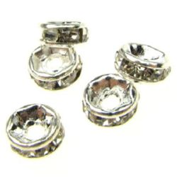 Metal beads, flat round divider with crystals 5x2 mm hole 1 mm (quality A) color white - 10 pieces