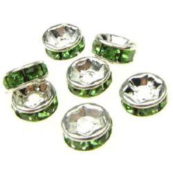 Шайба метал със зелени кристали 6x3 мм дупка 1 мм (качество А) цвят бял -10 броя
