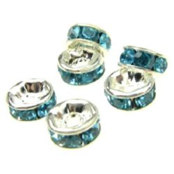 Șaibă de metal cu cristale turcoaz 6x3 mm gaură 1 mm (calitate A) culoare alb -10 bucăți