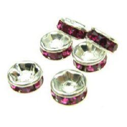 Шайба метал с розови тъмни кристали 6x3 мм дупка 1 мм (качество А) цвят бял -10 броя