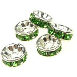 Шайба метал с зелени кристали 8x3.5 мм дупка 1.5 мм (качество А) цвят бял -10 броя