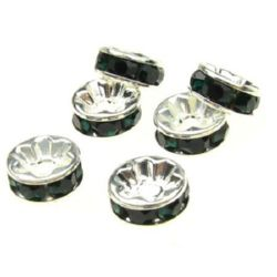 Шайба метал с Teal кристали 8x3.5 мм дупка 1.5 мм (качество А) цвят бял -10 броя