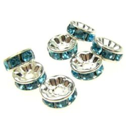 Metal washer with turquoise crystals 8x3.5 mm hole 1.5 mm (quality A) color white -10 pieces
