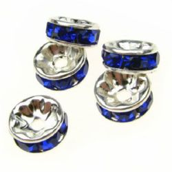 Metal beads disc shaped with blue crystals for jewelry making 8x3.5 mm hole 1.5 mm color white - 10 pieces