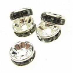 Metal separating element, round beads with gray tiny crystals 8x3.5 mm hole 1.5 mm (quality A) color white - 10 pieces