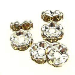 Шайба метал с жълти кристали зиг заг 8x3.5 мм дупка 1.5 мм (качество А) цвят бял -10 броя