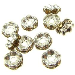 Metal divider, washer with yellow crystals zig zag 6x3 mm hole 1.5 mm (quality A) color white - 10 pieces