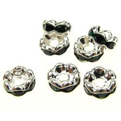 Шайба метал с черни кристали зиг заг 6x3 мм дупка 1 мм (качество А) цвят бял -10 броя