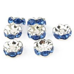 Jewelry metal findings, washer with blue crystals zig zag 6x3 mm hole 1.5 mm (quality A) color white - 10 pieces
