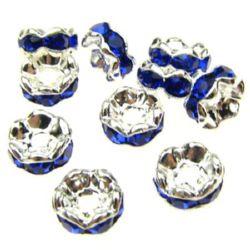 Șaibă metalică cu cristale închise albastru zig zag 6x3 mm gaură 1,5 mm (calitate A) culoare alb -10 bucăți