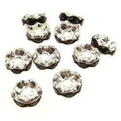 Шайба метал с червени тъмни кристали зиг заг 6x3 мм дупка 1.5 мм (качество А) цвят бял -10 броя