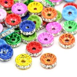 Metal washer bead, spacer with white crystals 10x4 mm hole 1 mm assorted colors - 10 pieces