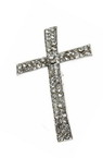 Cross metal stringing bead with crystals  35x22 hole 2 mm color white