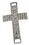 Metal connecting element, in cross shape with rhinestones 46x28x8 mm hole 5x3 mm silver color