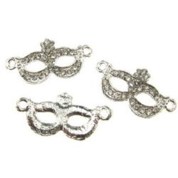 Connecting element,  metal bead - domino mask with crystals 31x15 mm hole 2.5 mm color white
