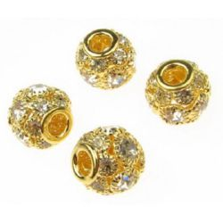 Мънисто шамбала метал с кристали 13x11 мм дупка 5 мм злато