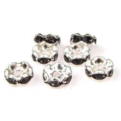 Шайба метал с виолетови кристали зиг заг 8x4 дупка 1.5 мм -10 броя