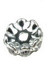 Шайба метал с кристали зиг заг 15x4.5 мм дупка 2.5 мм цвят бял -5 броя
