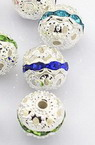 Metal charm, ball shape 10 mm hole 1 mm color white with assorted crystals